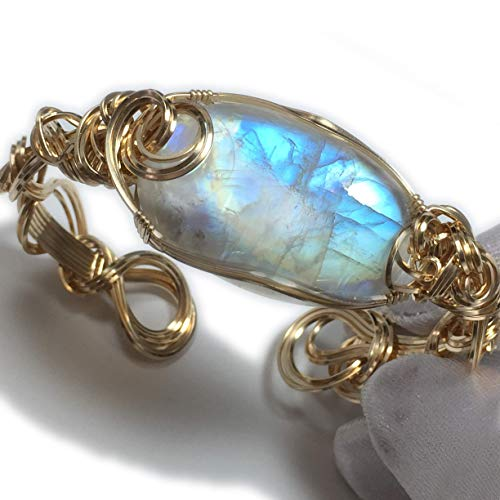 Genuine Moonstone Bracelet 14K Gold - Filled Jewelry Bangle Wire Wrapped Crystal 3522g4-218 ZP