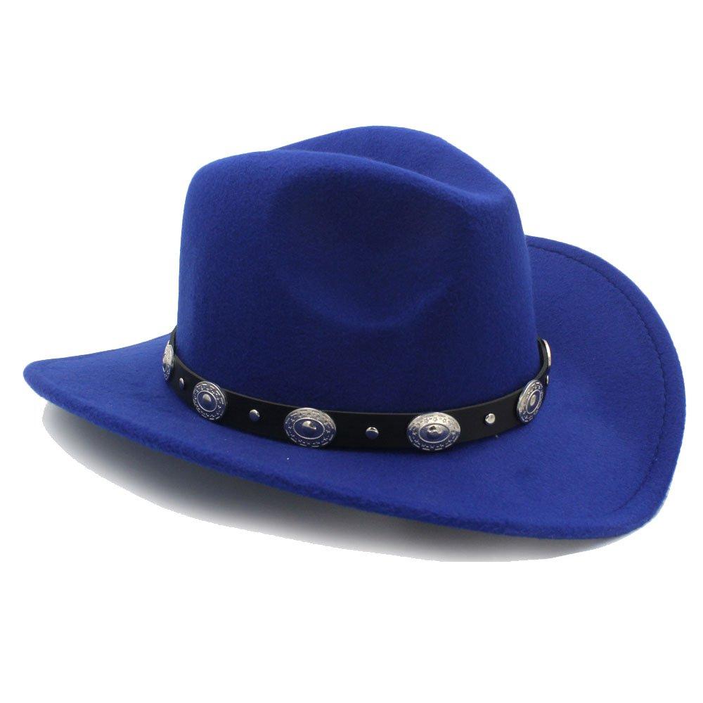 Sombrero de moda, Vintage Womem Men Western Cowboy Hat con borde ancho Punk Belt Cowgirl Jazz Cap con casco de cuero Toca Sombrero Dale estilo a tu vida ( Color : 9 , Talla : 57-58cm )