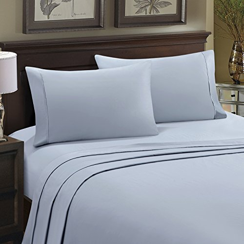 - HollyHOME 100% Cotton Hotel Luxury Collection 4 Pieces 600 Thread Count Deep Pocket Bed Sheet Set, King Size, Light Blue