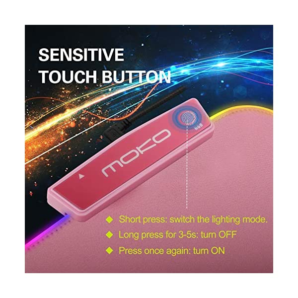Moko Rgb Gaming Mouse Pad Large Extended Glowing Led Mousepad With 15 Lighting Modes And Usb 20 Port Non Slip Rubber Base Computer Keyboard Pad Mat For Gamer 3209 X 12 X 016 Inch Cherry Pink