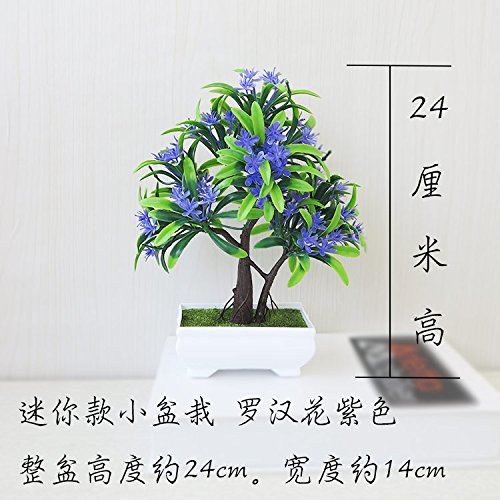 LANJIE Simulation Of Plant Pine Potted Flowers Bonsai Tree Grass Ball Home Furnishing Living Room Installed Desktop Decoration Luo Hanhua Purple