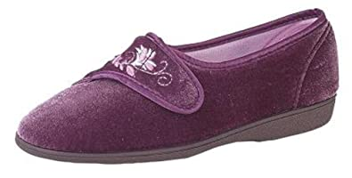 71973a1f4449 Womens MEMORY FOAM Heather Velcro Slippers Shoes 3 - 8 Rubber Outdoor Sole  (3)