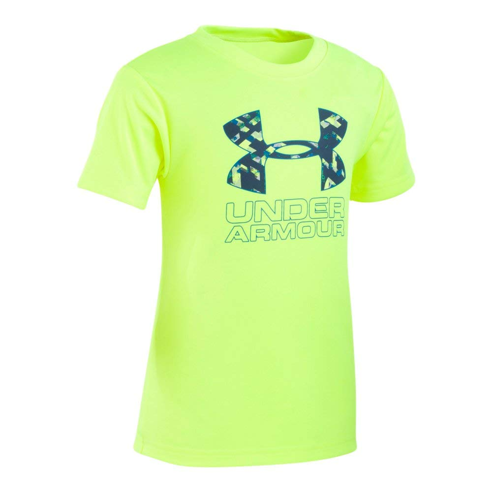Under Armour Boys' Toddler Big Logo Short Sleeve Tee Shirt, Hi Gh/Vis Yello-S19, 2T by Under Armour