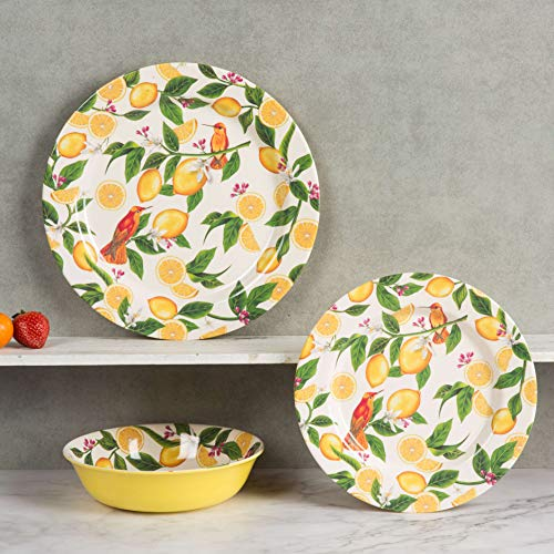 Melamine Dishes Set - 12pcs Dinnerware Set for Everyday Use, Dishwasher safe, Service for 4, Lemon Pattern (Dishes Yellow)