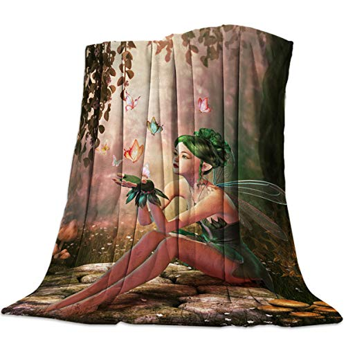 Ultra Soft Flannel Fleece Bed Blanket Fairy Girl with Wings in The Wonderland Forest Throw Blanket All Season Warm Fuzzy Light Weight Cozy Plush Blankets for Living Room/Bedroom 60