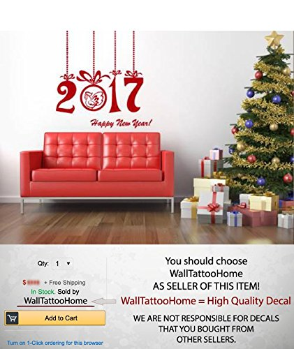 Amazoncom Cock Christmas Wall Decals Happy New Year Merry