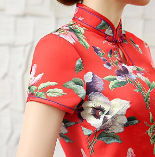 Abito Folk Affari Coolred Maxi donne Rosso Qipao Premio Cheongsam Spaccato Stile wIpqIxr