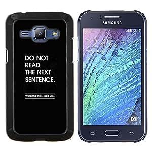 KLONGSHOP // Cubierta de piel con cierre a presión Shell trasero duro de goma Protección Caso - mensaje divertido cita inspiradora negro - Samsung Galaxy J1 J100 //