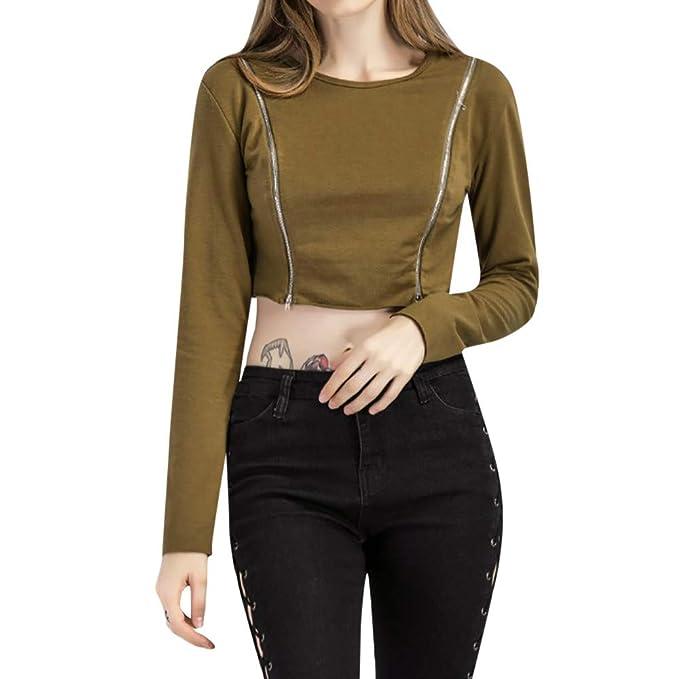 Luckycat Camiseta de Mujer con Cremallera Casual Tops de Manga Larga Blusa (Caqui, Grande