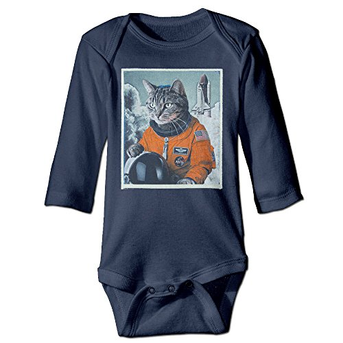 Price comparison product image Photo Novelty Space Cat Astronaut Funny For Baby Climbing Long Sleeved Clothing Navy