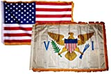 3×5 USA American & US Virgin Islands Wholesale Combo Sleeve w/ Fringe Flag 3'x5′ Double Stitched Fade Resistant Premium Quality