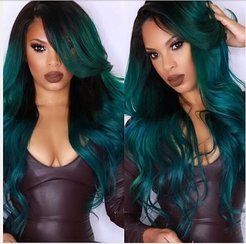 Heat Resistant Fiber Hair mermaid green color mix color Synthetic lace front wig for women (Color Wig)