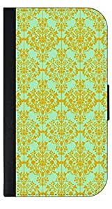 01-Floral Damask Pattern-Gold/Green Wallet Case for the APPLE IPHONE 6 PLUS ONLY!!!-NOT COMPATIBLE WITH THE REGULAR IPHONE 6!!!-PU Leather and Suede Wallet Iphone Case with Flip Cover that Closes with a Magnetic Clasp and 3 Inner Pockets for Storage by kobestar
