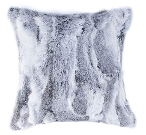 18 in x 18 in Natural Luxury Soft Premium Quality Durable Thick Lush Rabbit Fur Pillow, Grey