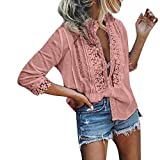Yxiudeyyr Sexy Deep V-Neck Women s Lace Tops Summer Short Sleeve T Shirts Elegant Lace Trim Tunic Shirt Pink