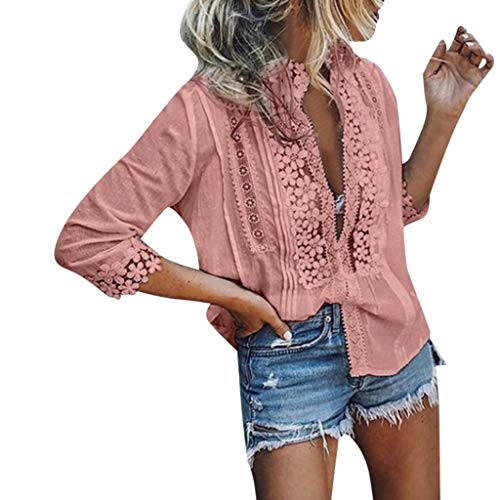 Yxiudeyyr Sexy Deep V-Neck Women's Lace Tops Summer Short Sleeve T Shirts Elegant Lace Trim Tunic Shirt Pink