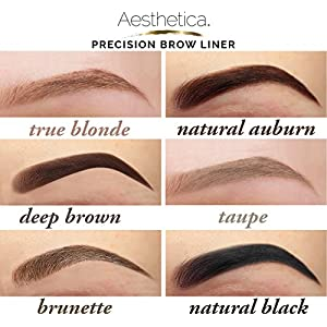 Aesthetica Precision Brow Liner - Double Ended Eyebrow Pencil / Spoolie Brush - Smudge Proof Formula - Vegan & Cruelty Free (Taupe)