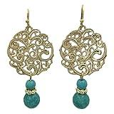 Filigree Disk Boutique Style Dangle Earrings (Aqua Blue Gold Tone)