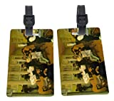 Edgar Degas Art Cotton Exchange Design Plastic Flexi Luggage Identifier Tags + Strap Closure
