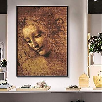 unbrand Leonardo DA Vinci Cabeza de Mujer Giclee Lienzo Pintura Arte clásico Arte de la Pared Cuadros para Sala de Estar Dormitorio Sthdy 30X45CM