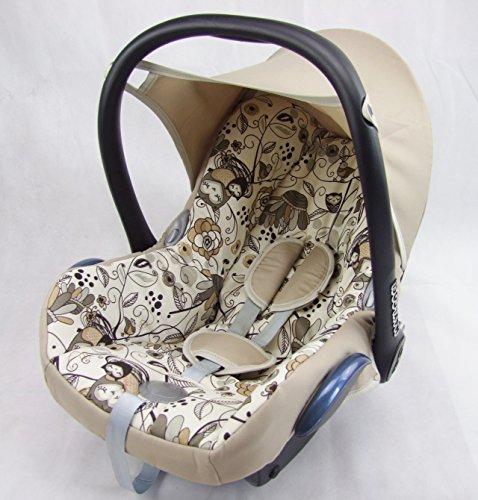 Babys-Dreams Ersatzbezug für Maxi-Cosi CabrioFix 6 tlg. BEIGE + EULEN §3 *NEU* Bezug für Babyschale Sommerbezug Cabrio Fix