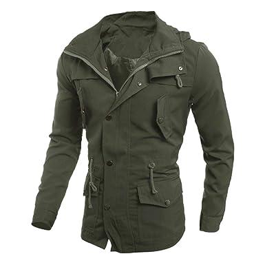 8eb102643800 Longra Baumwolle Militär Jacke Herren Herbst Winter Übergangsjacke Parka  Jacket Pilotenjacke Feldjacke mit Multi Taschen Herrenjacke
