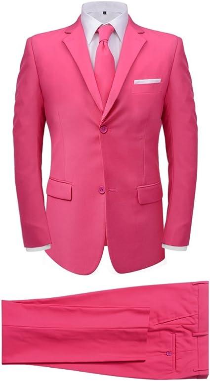 Festnight Traje de Hombre 2 Piezas con Corbata Color Rosa Talla 50