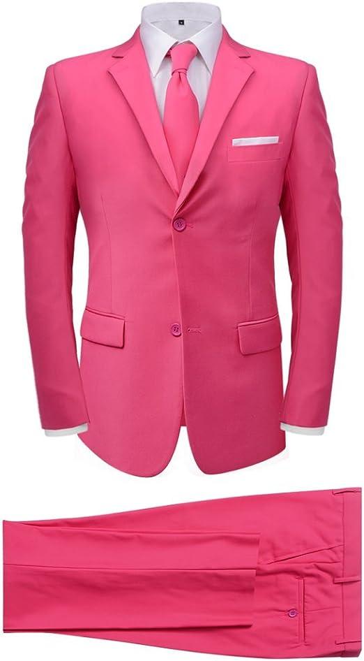 Festnight Traje de Hombre 2 Piezas con Corbata Color Rosa Talla 50 ...