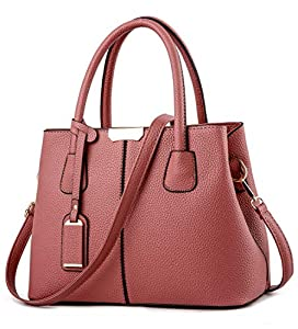 Covelin Women's Top-handle Cross Body Handbag Middle Size Purse Durable Leather Tote Bag Rubber Pink