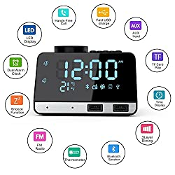 Digital Alarm Clock Radio, Charque Bluetooth Speaker Dual Driver Stereo Speaker Enhanced Bass, AUX TF Card Play, Thermometer, Dual USB Charging Port, 4.2 Inch Large Mirror LED Dimmable Display