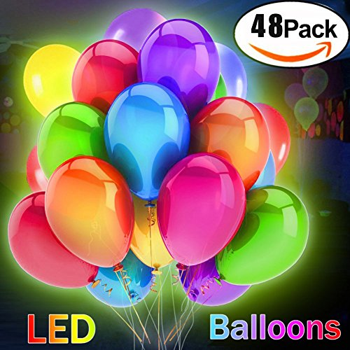 LED Light-up Balloons,Creatrek Mix Colored Flashing Balloons,Blinking Light Up Balloons Colorfull Balloons for Party Birthday Christmas Wedding Easter Halloween Festival Holiday Decorations (48 - Flash To Get Yellow Where