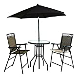 BACKYARD EXPRESSIONS PATIO · HOME · GARDEN 909851 Table and Umbrella Included Four Piece Folding Bar Height Patio Set, Tan