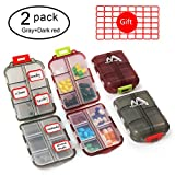 2 Pack Pill Case Portable Small 7-Day Weekly Travel Pill Organizer Portable Pocket Pill Box Dispenser for Purse Vitamin Fish Oil Compartments Container Medicine Box by Muchengbao (Gray+Dark red)