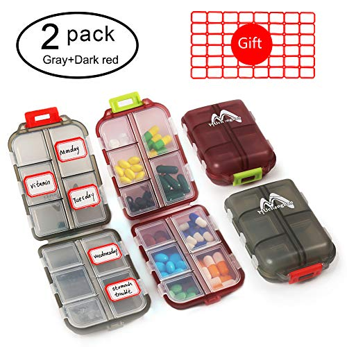 (2 Pack Pill Case Portable Small 7-Day Weekly Travel Pill Organizer Portable Pocket Pill Box Dispenser for Purse Vitamin Fish Oil Compartments Container Medicine Box by Muchengbao (Gray+Dark red))