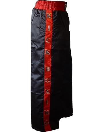 Schwarz mit zwei Roten Streifen Kickboxhose aus Mischgewebe