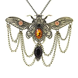 Gabrine Jewelry Vintage Retro Gothic Steampunk Animal Scarab Beetle Pendant Necklace Chain for Party Prom Night Out