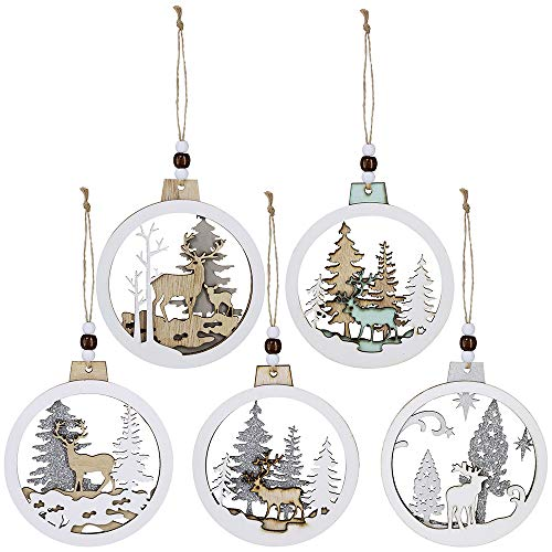 5 Pcs Christmas Hanging Wooden Ornament Hollow Fretwork Laser Cutting Wood Carving Ornaments Wood Slice Gift Tags Pendant Circle Bauble Glitter Reindeer Oranments Xmas Tree for Holiday Season -