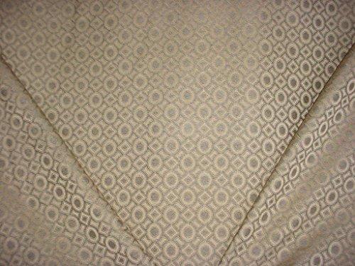 Valdese / Circa 1801 F-CO11941 - Silvery Beige Circle Diamond Trellis Lattice Chevron Jacquard Designer Upholstery Drapery Fabric - By the Yard