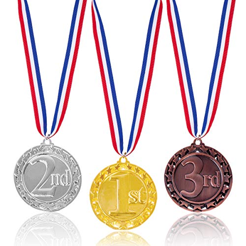 Haley Party Olympic Style Award Medals Metal Winner Medal 1st 2nd 3rd Gold Silver Bronze Award Medals with Neck Ribbon for Kids (3pcs Pack)