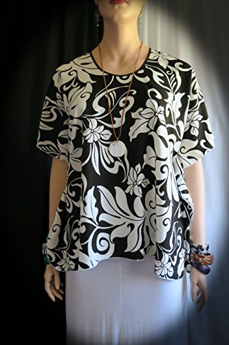 Hawaiian ka nehele 'ele'ele (black forest) Butterfly Blouse Shirt, tunic, top- Fits Large to 1XL 2XL - Made in Hawaii - Tropical Polynesian