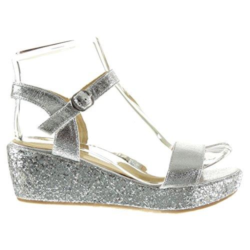 Angkorly - Chaussure Mode Sandale Mule plateforme femme lanière pailettes brillant Talon compensé plateforme 6 CM - Argent