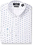 Original Penguin Men's Slim Fit Performance Spread Collar Printed Dress Shirt, Bright Blue, 16 32/33