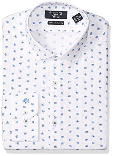 Original Penguin Men's Slim Fit Performance Spread Collar Printed Dress Shirt, Bright Blue, 15.5 32/33 by Original Penguin