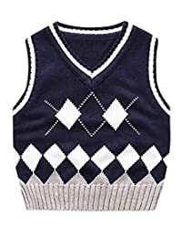 Happy Cherry Sweater Vest School V-Neck Uniform Cotton Knit Pullover for Boy Girl