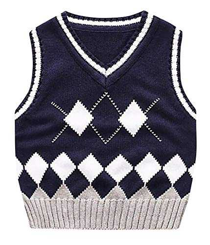 Happy Cherry Kids Argyle Sleeveless Sweater Pattern Cable-Knit Vest for Boys Girls 7-8Y Navy -