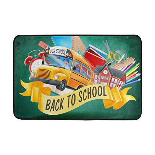 (U LIFE Welcome Hello Back To School Season Bus Doormats Floor Mats Shoe Scraper for Home Indoor Entrance Way Front Door 23.6 by 15.7 Inches 40 x 60 cm)