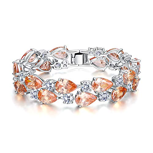EVER FAITH Women's Prong Cubic Zirconia November Birthstone Dual Layer Tear Drop Bracelet Champagne Silver-Tone ()