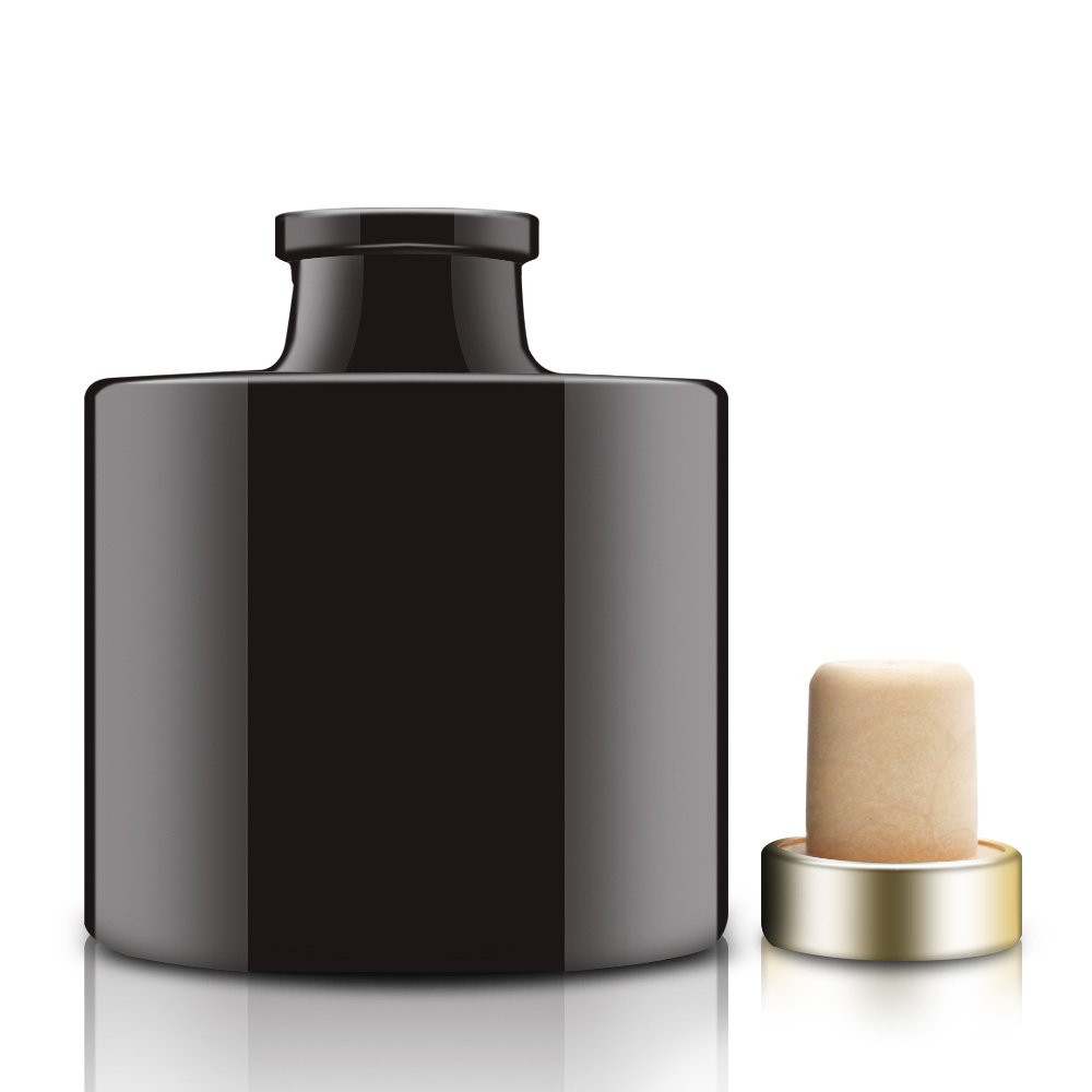 Feel Fragrance  Black Glass Diffuser Bottles Round Diffuser Jars with Gold Caps Set of 4 - 2.95 inches High, 100ml 3.4ounce. Fragrance Accessories Use for DIY Replacement Reed Diffuser Sets. by Feel Fragrance  (Image #2)