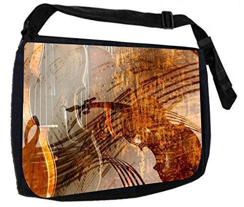 Musical Violin Art TM Laptop Messenger Bag for Laptop/Notebook Computers + Small Wire/Accessory Case SET -