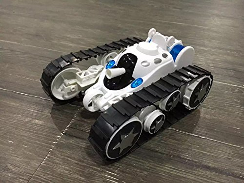 A-Parts Rover Space Rc Tank Remote Control Toy Stunt Car With Cool Led Lights 360° Flip Color White
